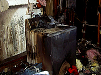 Charred clothes dryer and laundry room